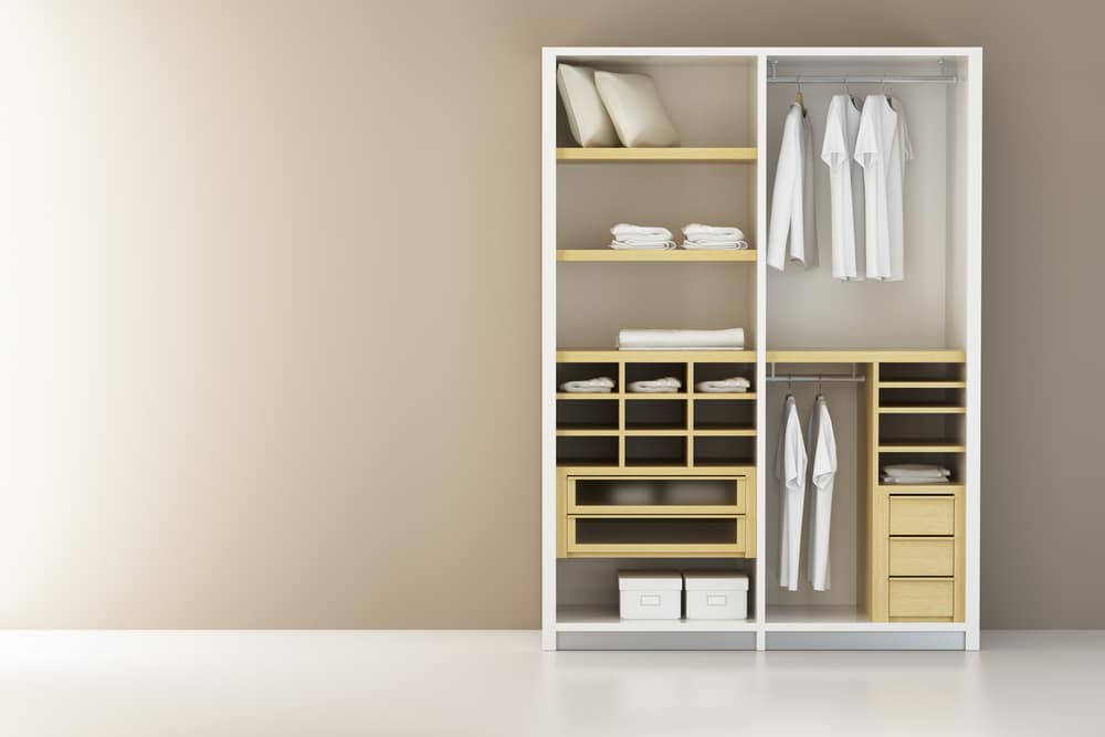 White wardrobe closet wall unit for bedroom storage of clothing and accesories