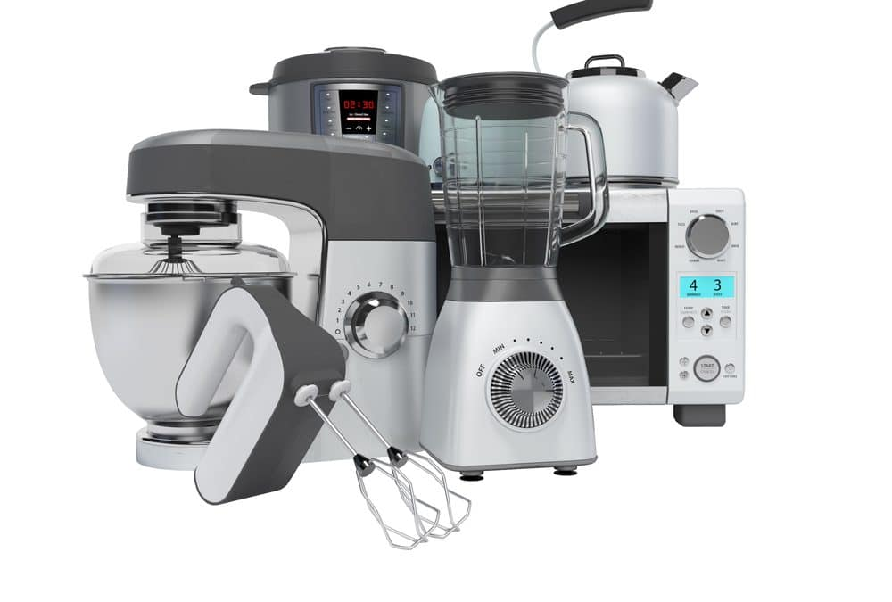 3D rendering home appliances group mixer blender food processor multicooker on white background no shadow