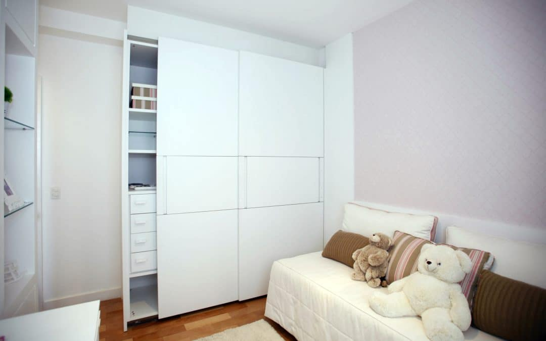 Wardrobe Closet with two sliding doors in odd shaped room