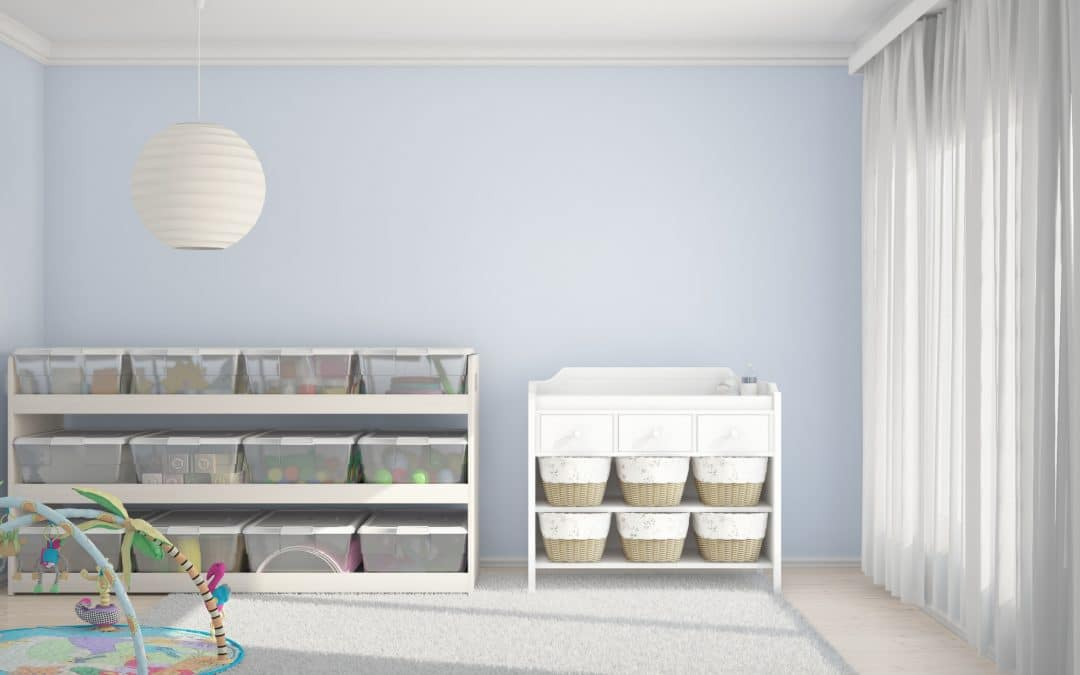 Neatly organized children's room with toys and small bed