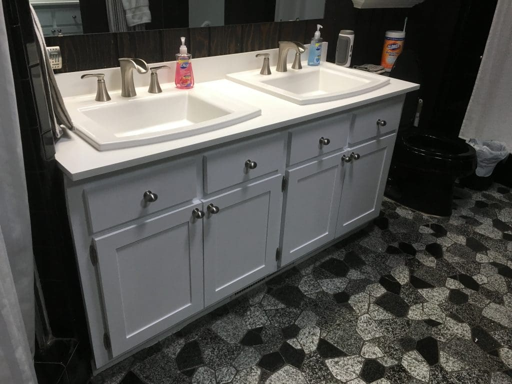 Custom bathroom vanity with dual sinks that was installed in Wilmington, NC