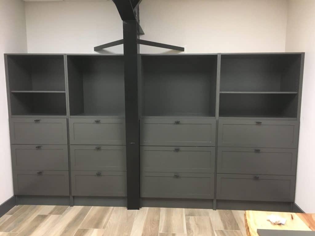Custom built-in shelves installed in Wilmington NC