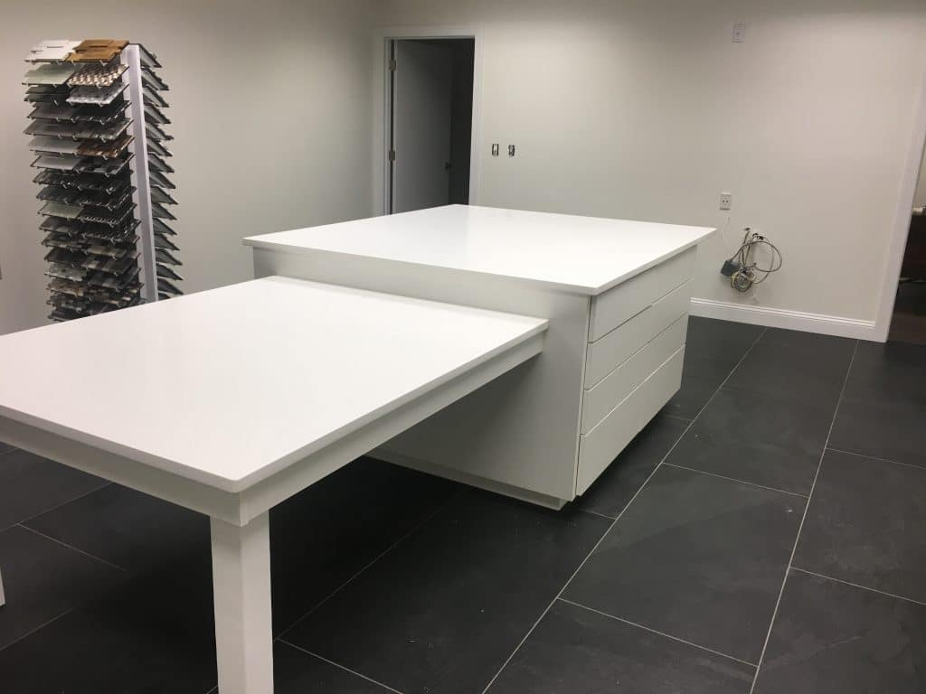 Completed custom storage island with attached table