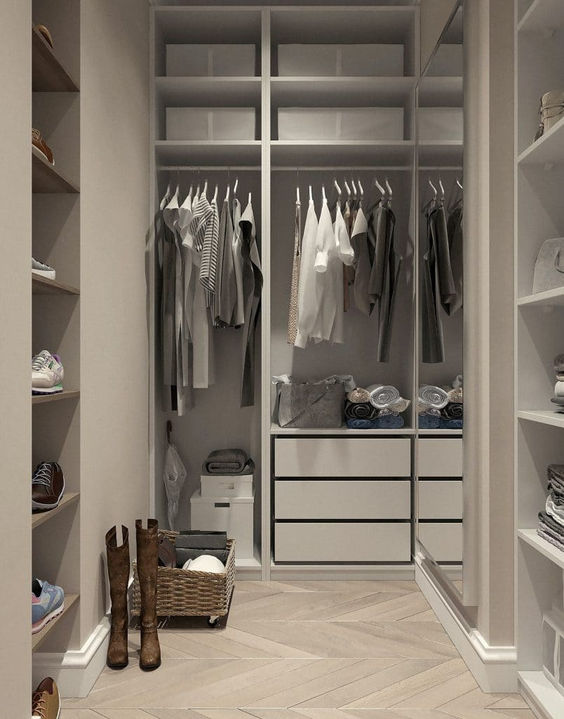 Cost of a Custom Walk-in closet with built-in shelving and drawers for storage of clothes