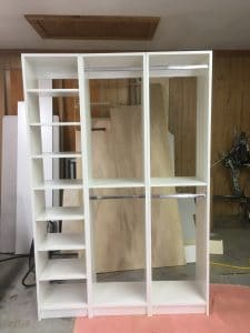Assembled custom closet insert to be installed in wilmington