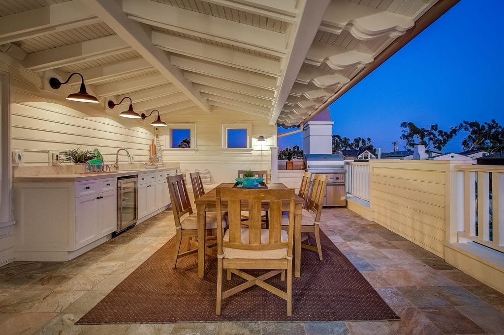 Photo of covered deck of home with custom built closets